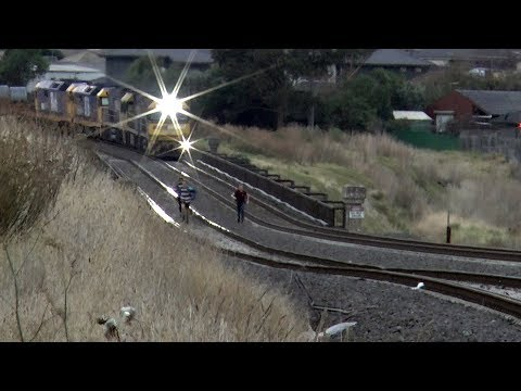 Nearly run over by an Australian freight train at Airport West - kids playing on the tracks.