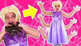 Don't Eat GUMMY SPIDER at 3AM! 🎃 Halloween Spooky Stories - Princesses In Real Life | Kiddyzuzaa