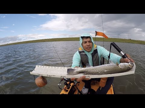 Slot reds and good trout, Kayak fishing Texas City