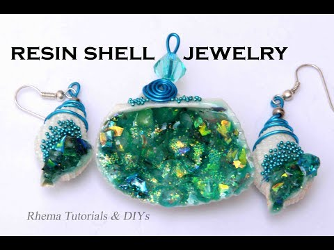 RESIN JEWELRY - Shell geode Jewelry - Beach jewelry - DIY Sea Shell earring - Sea Shell Pendant