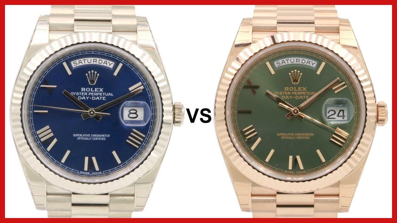 Rolex Day,Date 40 White,Gold, blue vs Rose,Gold, green, fluted bezel,  President , COMPARISON