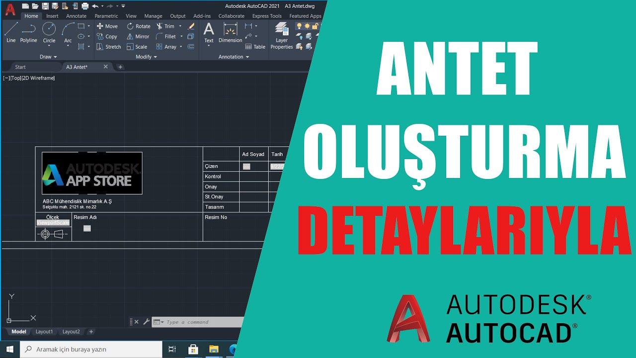 Autocad Antet Oluşturma   Layout Antet Şablonu Hazırlama