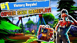 NEW CIPHER SKIN GAMEPLAY AND FREE RUST BUCKET BACK BLING!!! FORTNITE #1 VICTORY ROYALE
