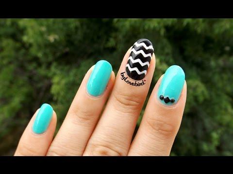 nail tutorial  easy chevron nail art  black and white