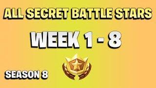Todas las estrellas secretas de batalla semana 1 a 8 - Fortnite temporada 8
