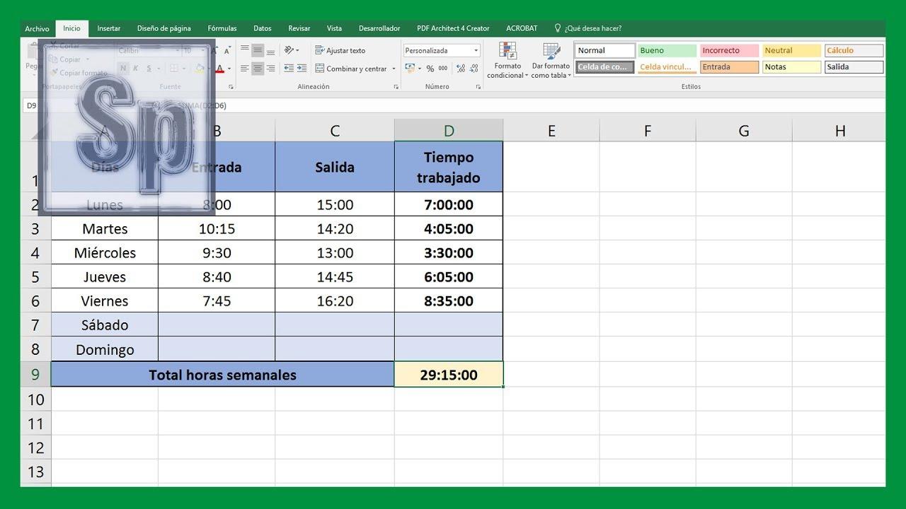 Excel sumar y restar horas minutos y segundos en excel for Como se liquida una nomina en excel