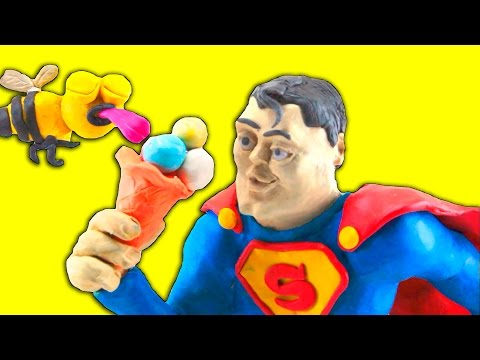 Play Doh  Stop motion. Superman and Ice Cream. Superhero Cartoons for Kids Animation Funny Videos