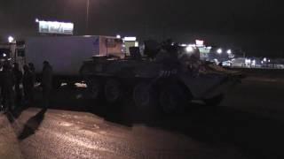 ДТП с участием военного бронетранспортера и фургона