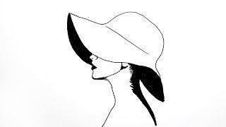 How To Draw Lady With A Hat Easy - Şapkalı Kız Nasıl Çizilir