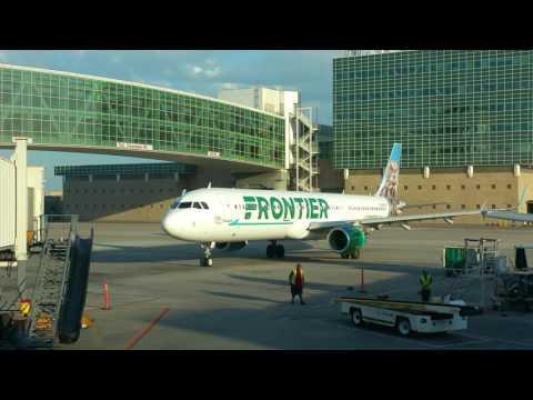 Frontier A321 N701FR arrives DEN gate A36.  19 Jun 2016