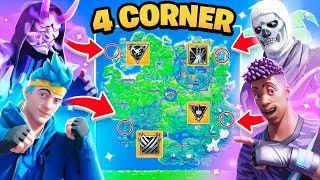 The *MYTHIC* 4 CORNER Challenge in Fortnite! w/ Ninja, Sypher & Myth!