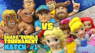 WWE vs Disney Princess Toys Shake Rumble TOURNEY Match #1 by KIDCITY