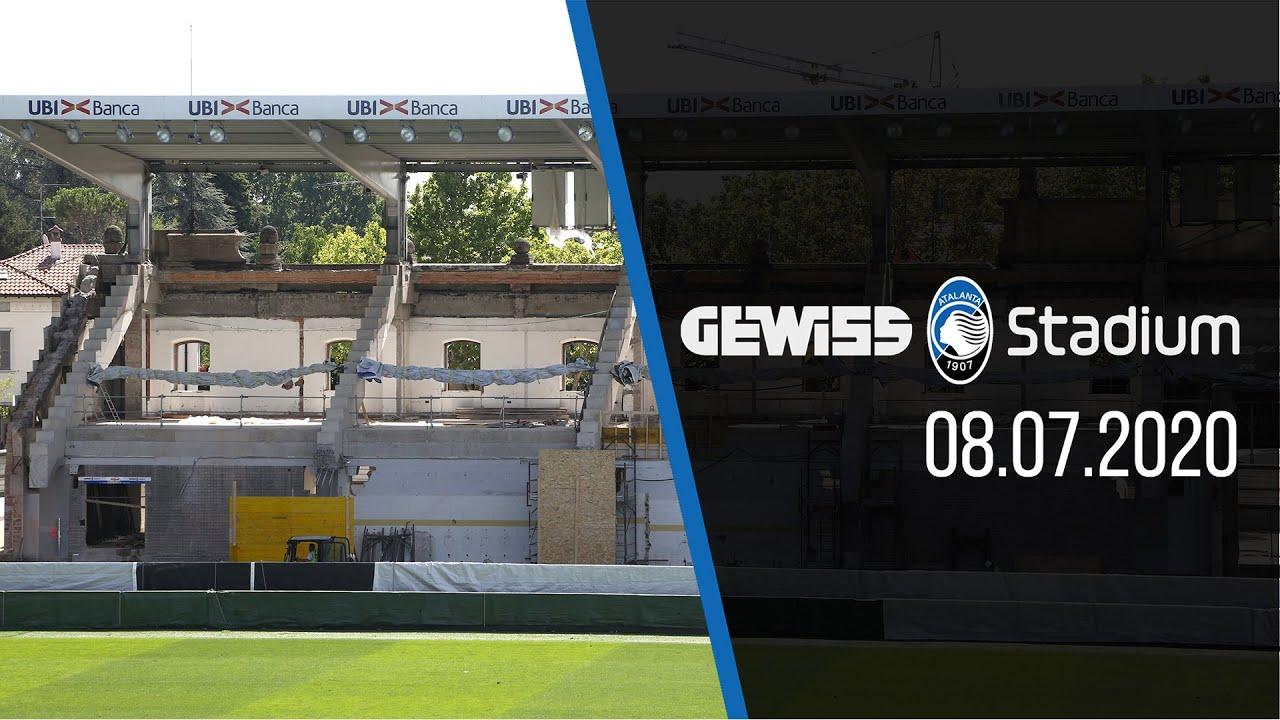 Gewiss Stadium, proseguono i lavori di demolizione della Tribuna UBI Banca