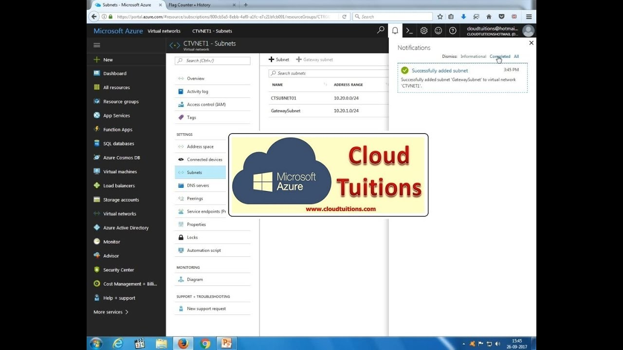 Create VNet to VNet VPN Connection in Microsoft Azure Step By Step Tutorial  Training Video