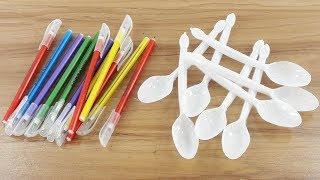 Plastic spoon & Old pen reuse idea | DIY art and craft | DIY HOME DECO