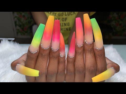 Acrylic Nails Tutorial | XX-Long Nails | Color Acrylic | Pride Nails