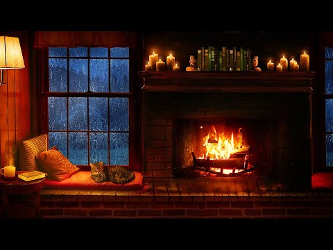 Cozy Cabin Ambience  Rain and Fireplace Sounds at Night 8 Hours for Sleeping, Reading, Relaxation