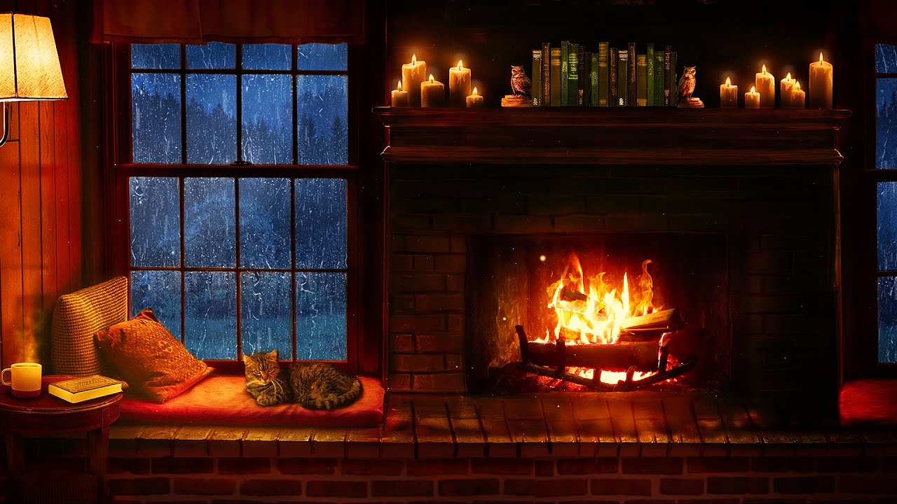 Download Cozy Cabin Ambience - Rain and Fireplace Sounds at Night 8 Hours for Sleeping, Reading, Relaxation