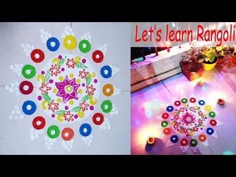 LET'S LEARN RANGOLI | EASY INDIAN RANGOLI DESIGN | My first ever Free Hand Rangoli 😊