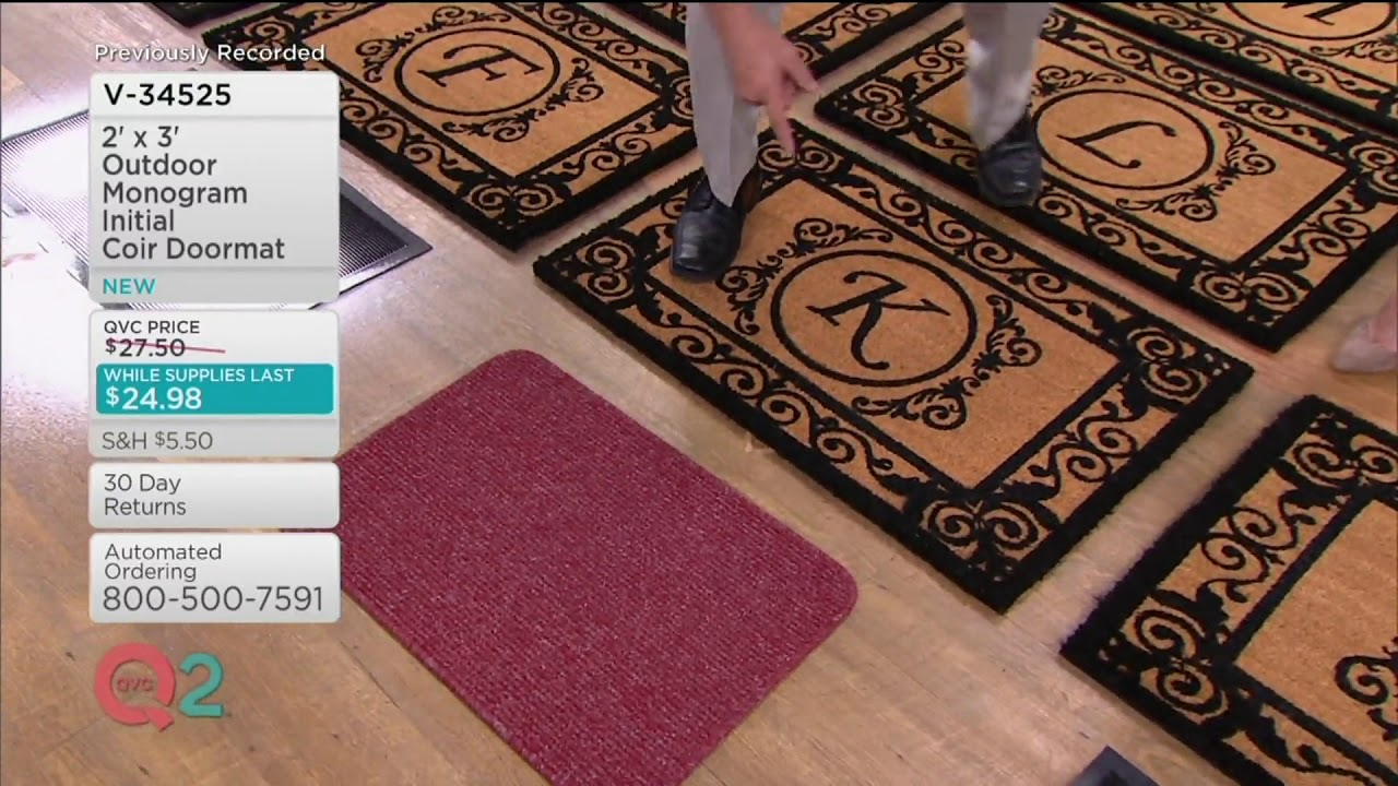 2u0027 X 3u0027 Outdoor Monogram Initial Coir Doormat On QVC