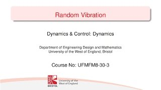 Dynamics and Control 9-2 Random Processes