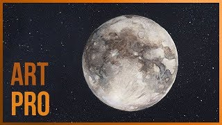 How to draw a Full Moon very easy with watercolors