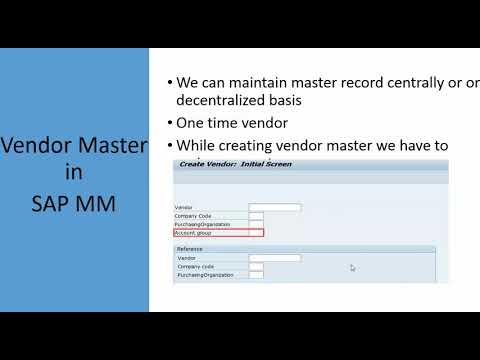 SAP MM Video Training 4 - Vendor Master In SAP MM | SAP Vendor Master T Code