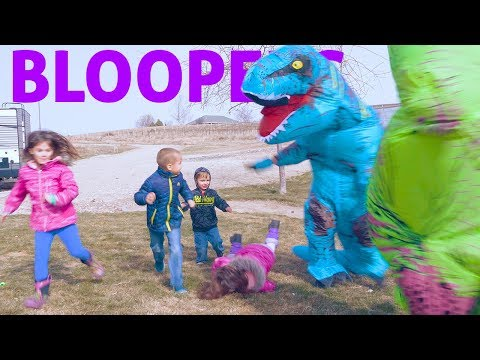 Running SCARED from BLUE and GREEN T-Rex Dinosaurs!! Bloopers and Outtakes | Twin Family Fun