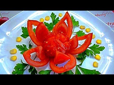 Как сделать цветок из помидора