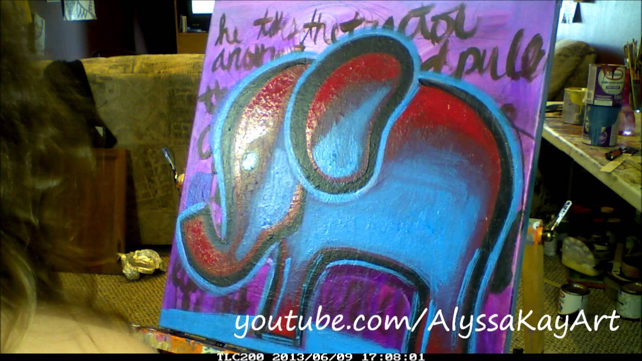 Colorful Abstract Elephant Painted On Canvas