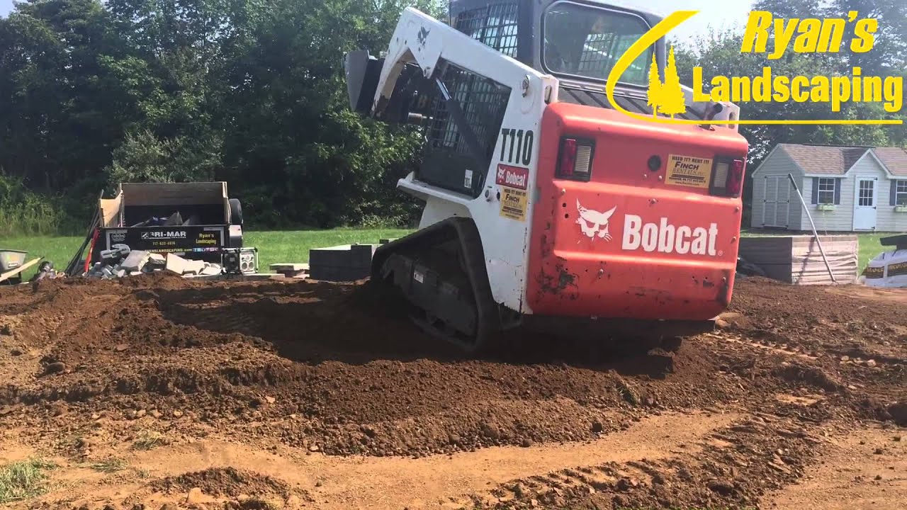 excavating and grading for backyard patio hardscape in new oxford