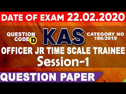 Session-1    KAS OFFICER JR TIME SCALE TRAINEE    QUESTION PAPER