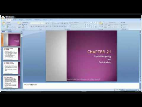 Cost Accounting Chapter 21 Capital Budgeting and Cost Analysis