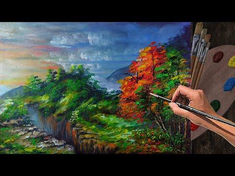 PAINTING TUTORIAL ACRYLIC – 15 TIMELAPSE | How to paint basic canyon, sunrise, ground and trees