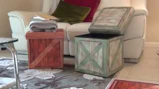 AMAZING STOOLS: Vintique Folding Storage Ottoman - Wooden Crate Design
