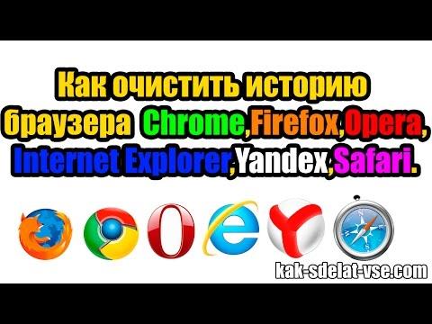 Как удалить историю браузера Хром,Мозила,Оpera,IE,Yandex,Safari
