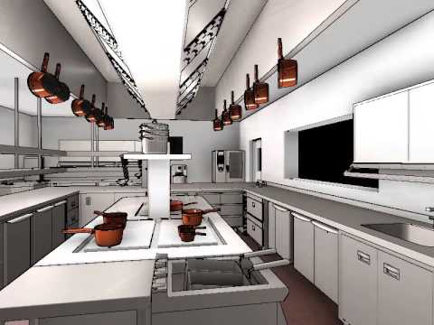 Commercial kitchen design 3d animation youtube Small kitchen setup
