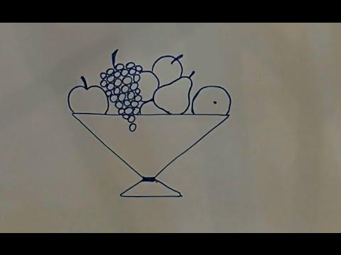 Учимся рисовать  Ваза с фруктами Простой рисунок