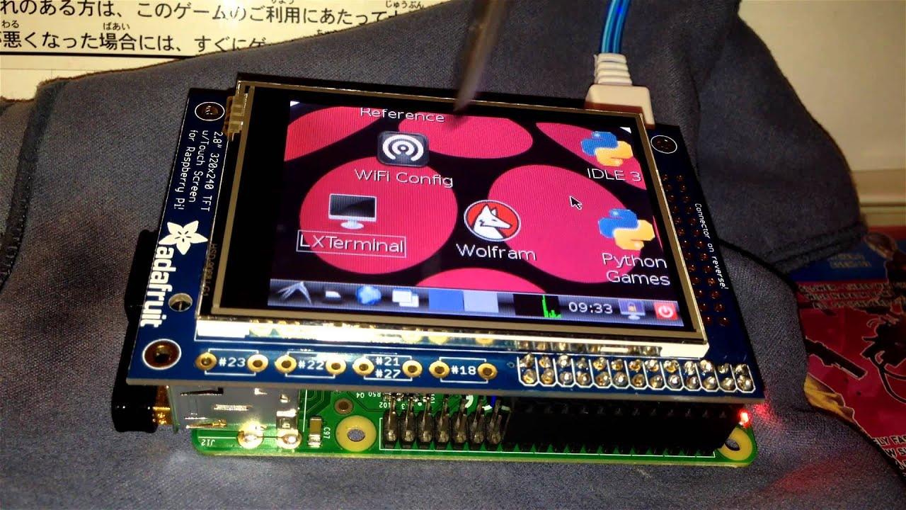 Raspberry Pi B+ test with Adafruit PiTFT - 2 8