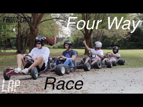 Four-Way Go Kart Race Around The Yard!
