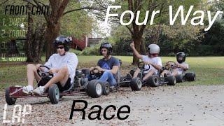 Four-Way Go Kart Race around the Yard!