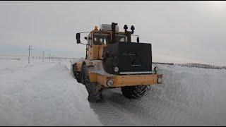 Трактор Кировец. Морозы до -35. Не глушу сутками. Не снег а бетон.