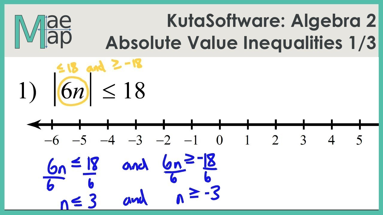 Kuta Algebra 2 Absolute Value Inequalities Part 1