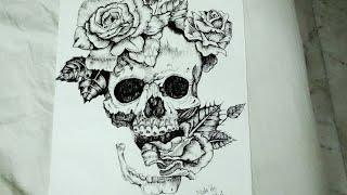 Drawing skull and rose with pen and ink- Vishu wahal