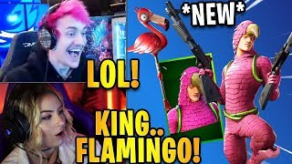 Streamers React to the *NEW* KING FLAMINGO Skin & LAWNBREAKER Pickaxe! | Fortnite Highlights
