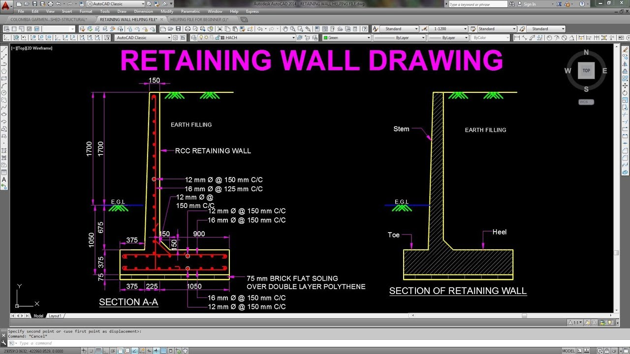 Retaining wall structural drawing in AutoCAD