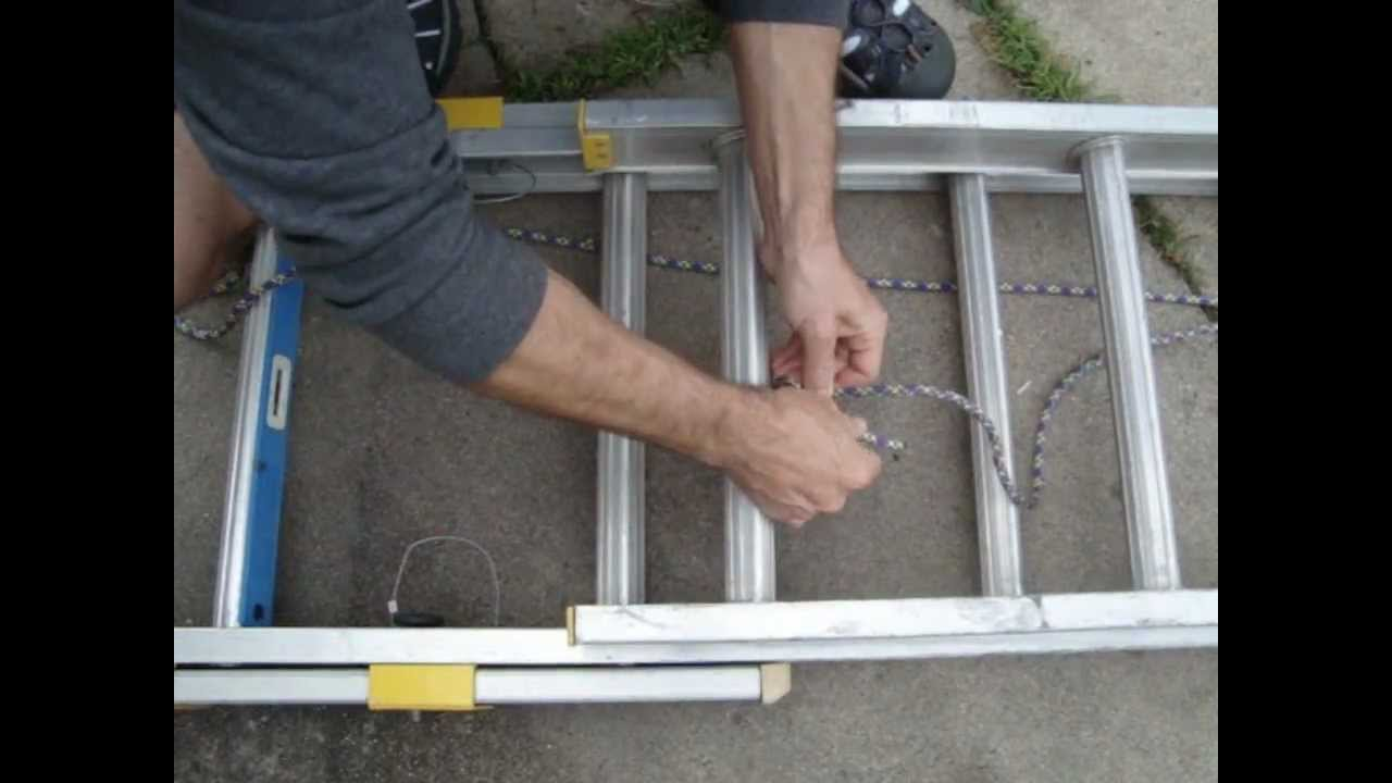 Installing new rope on extension ladder using Bowline knot - YouTube for Rope Ladder Knot  83fiz
