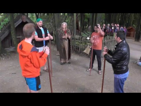 Tamaki Maori Village - Learning matau (right) & maui (left) with a stick, Rotorua, New Zealand