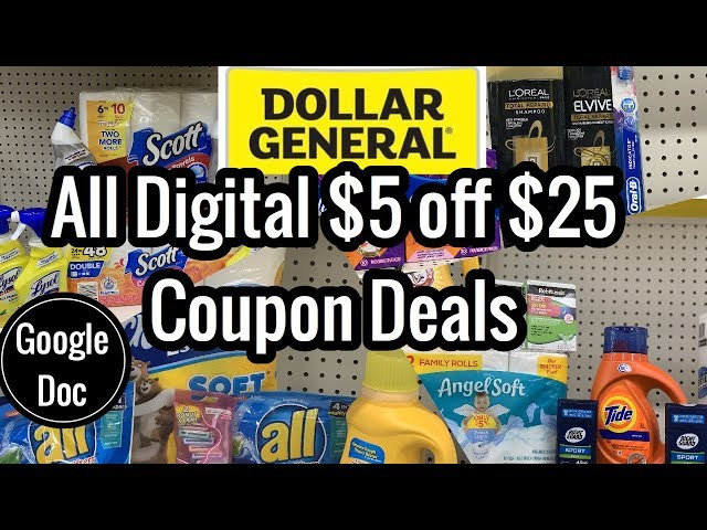 Dollar General | ALL DIGITAL $5 Off $25 Couponing Deals | 5 Breakdowns As Low as $4!  ????????