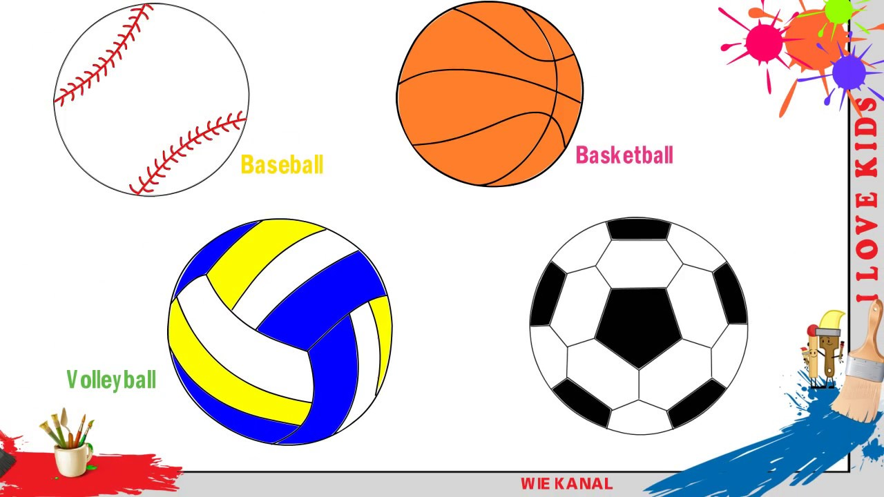 fu ball baseball basketball volleyball zeichnen f r kinder zeichnen lernen tutorial youtube. Black Bedroom Furniture Sets. Home Design Ideas